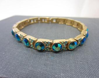 Kirks Folly Green Aurora Borealis Gold-Tone Tennis Bracelet