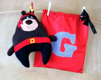 Pirate Teddy bear with personalized gift bag, cute stuffed toy for kids, car seat pillow, best Valentines idea, unique baby shower gift