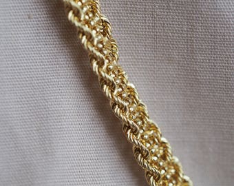 Airy and romantic, 14K pale yellow gold Peruvian braided chain