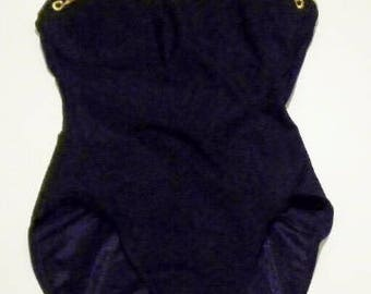 See Through Net Bodice Swimwear Black Gold One Piece Unworn