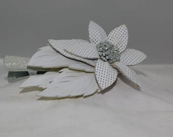 Handcrafted Hair Clip--White
