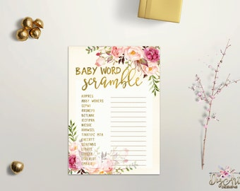 Baby Word Scramble Game Printable Baby Shower Word Scramble Game Boho Chic Baby Shower Game Faux Gold Foil Floral Baby Game Digital Download