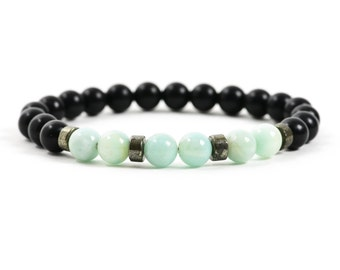 Amazonite Bracelet, Black Onyx Bracelet, Gemstone Bracelet for Men, Gemstone Jewelry, Gemstone Bracelet, Handmade Jewelry, handmade bracelet