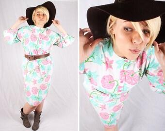 60s Boho Floral Spring Dress / House Dress / Size Large