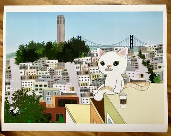 Coit Tower and Bay Bridge with a little cute cat