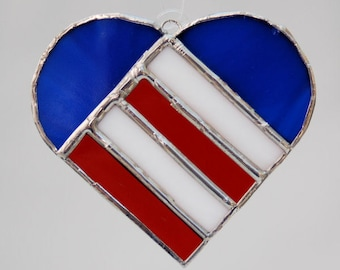 Red White and Blue Heart Suncatcher