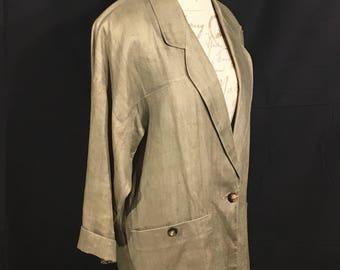 Vintage Anne Klein II Blazer, Goldish Gray 100% Linen Jacket, Women's Size Small Long Coat, Mid-Sleeve Blazer, Business Jacket, Retro 80s