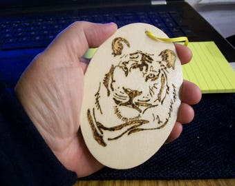 Handmade Wooden Ornament Tiger Face/Magnet Customize Woodburned Hand Drawn