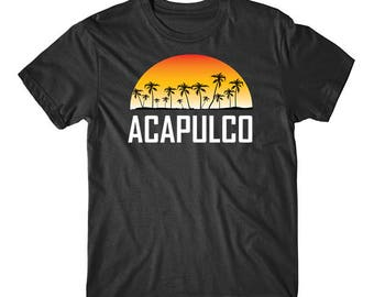 Acapulco Mexico Sunset And Palm Trees Beach Vacation T-Shirt