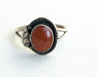 Mexican Goldstone Ring Size 8 .75 Vintage Sterling Silver Copper Gold Stone Brown Statement Jewelry
