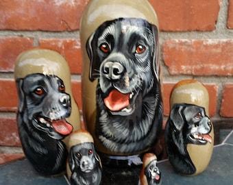Labrador Retriever on Five Russian Nesting Dolls. Black.  Dogs.