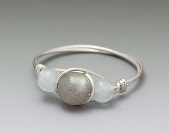 Labradorite & Aquamarine Sterling Silver Wire Wrapped Bead Ring - Made to Order, Ships Fast!