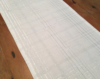 Modern Crisp White & Silver Thread, Check, Wedding/Christmas Table Runners, Quality Hand Made!