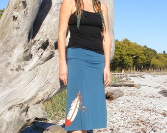 Knee Length Skirt Sustainable Clothing on Blue Bamboo with Feather Print Hippie Style Ethical Casual Summer Wear