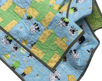 Gender Neutral Baby Quilt, Custom Order, Baby Shower Gift, Quilted Baby Blanket, Toddler Blanket Quilt, Quiltsy Lewe the Ewe Quilt Challenge