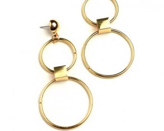 Cassandra Double Hoop Earrings, Gold and Silver Hoop Earrings, Dangle Earrings, Statement Jewelry
