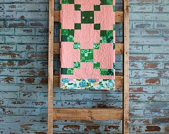 Rose Quilt Wall Hanging with Cotton and Steel Fabrics