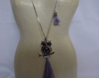 Necklace chain steel OWL pendant, large tassel, silver and purple.