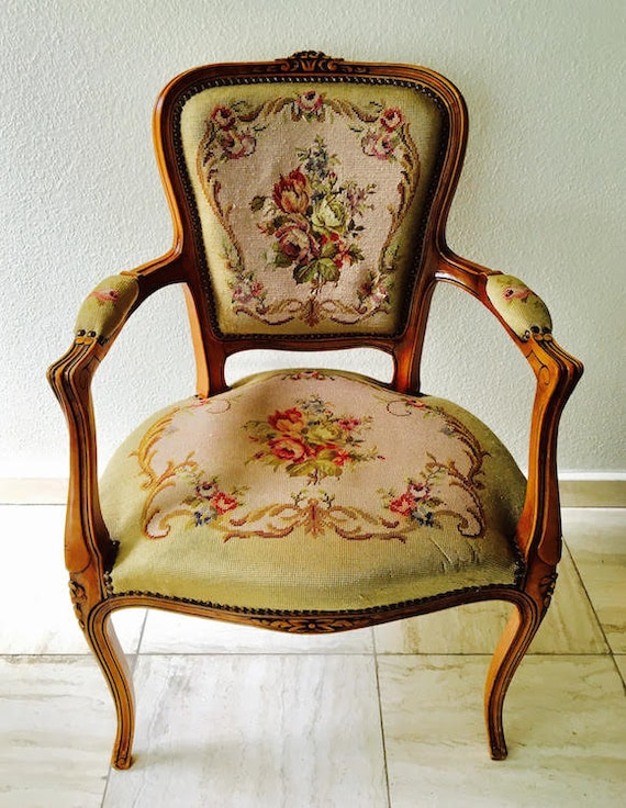 Vintage Fauteuil Louis XVI Arm Chair Gobelin Tapestry Gorgeous - Fauteuil louis xvi