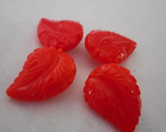 Set of 4 VINTAGE Red Glass Realistic Leaf BUTTONS