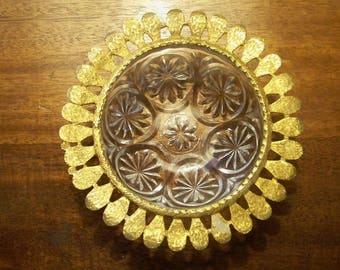 Gold Filigree Cut Glass Vanity Dish From Celeste
