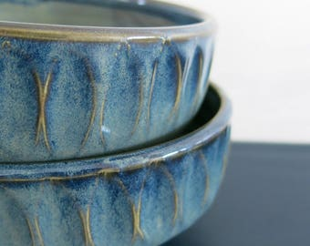 Handmade Ceramic Bowl, Desert Bowl Soup Bowl Faceted Variegated Blue Limited Edition Gift Idea for him, Artisan Pottery by Licia Lucas Pfadt