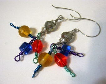 Circus Colored Glass Wire Hand Made Ear Wires Earrings