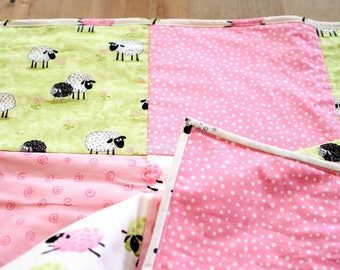 Baby Girl Pink Quilt, Sheep Crib Bedding, Susybee Fabric Quilt, Lamb Nursery Quilt,  Baby Girl Lamb Blanket