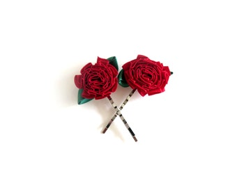 Red Rose Bobby Pins - Set of Two - READY TO SHIP