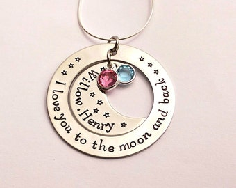 I love you to the moon and back hand stamped personalised necklace