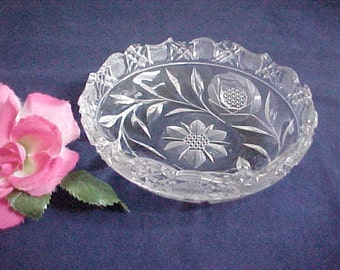 1920s Cambridge Glass Cut Wild Rose Bowl, Vintage Pattern No. 3200 Near Cut Nappy, Clear Old Serving Glassware, Antique Crystal Candy Dish