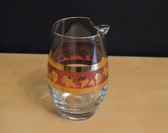 Vintage Cera Golden Grapes Mini Glass Pitcher, Barware, 1960s, Mid-Century Modern, Cranberry Grapes Leaves, 14 oz, Martini Pitcher