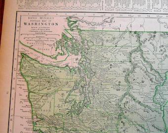 Vintage Washington Map, 1930s green US State map, original atlas Map, old maps, wall art