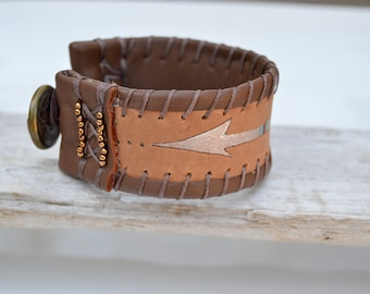 Leather Arrow Bracelet . Leather . Antique Button .  South Western .  Handmade .