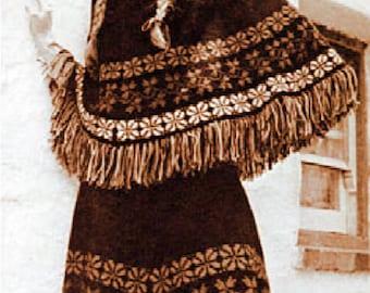 Fair Isle Poncho/Skirt Patons Knitting Pattern