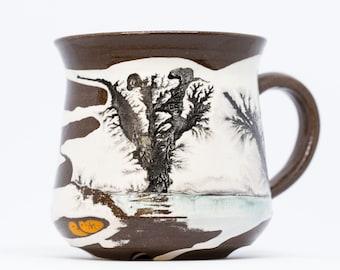 Handmade pottery mug. Large pottery mug with art. Handmade ceramic mug Pottery cup with white paint. Coffee mug Coffee cup Kind gift