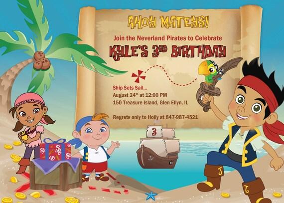 Jake et l 39 invitation de pirates de neverland invitation - Jack et le pirate ...