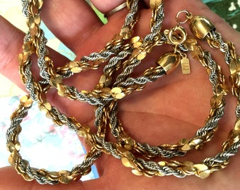 Signed M Sterling and Gold Filled Twisted Necklace