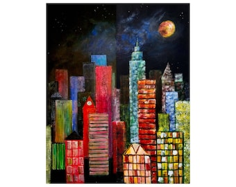 City Lights, City Sights-- Diptych Cityscape Acrylic Two Paintings In One Large Art