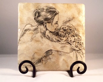 Lady with Roses Trivet (hot pad)