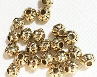 100 pcs of antique gold rondelle spacer beads 4x5mm,  metal spacer beads