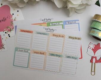 Functional List Planner Stickers, ECLP, Happy Planner