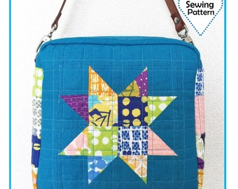 PDF Scrappy Star Square Bag - Zakka Sewing Pattern - Instant download