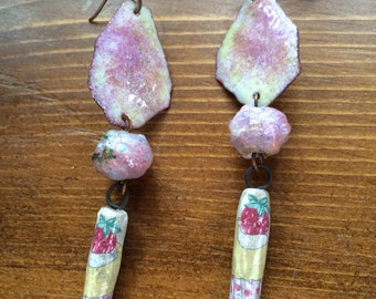 artisan dangle earrings pink purple strawberry strawberries mixed media abstract copper metal rolled collage beads