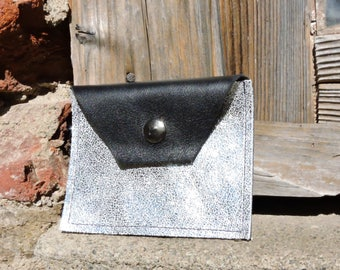 Black-Silver white recycled leather case