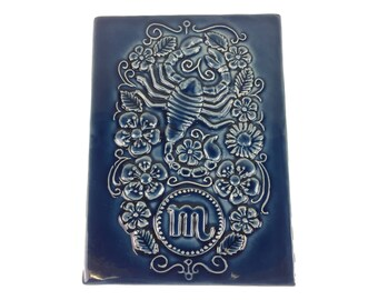 Jie Gantofta Ceramic Wall Plaque/Tile - Scorpio - Blue Glaze - Made in Sweden