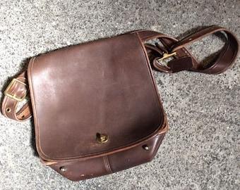 Vintage Super Soft Brown Retro Coach Messenger Bag Fold Over Flap