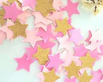 Star confetti/ Pink star confetti/Pink and Gold star Confetti/Baby girl Confetti/litter stars cut outs/twinkle star Party/small paper stars