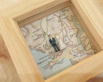 Small Bespoke Vintage Map Box - Natural