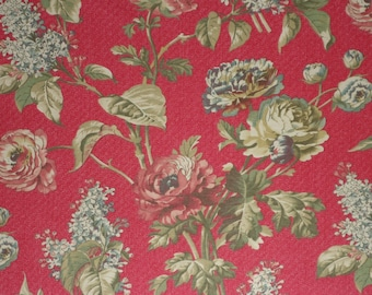 Waverly CLIFFSIDE COTTAGE, Crimson Floral  Sold by the Yard